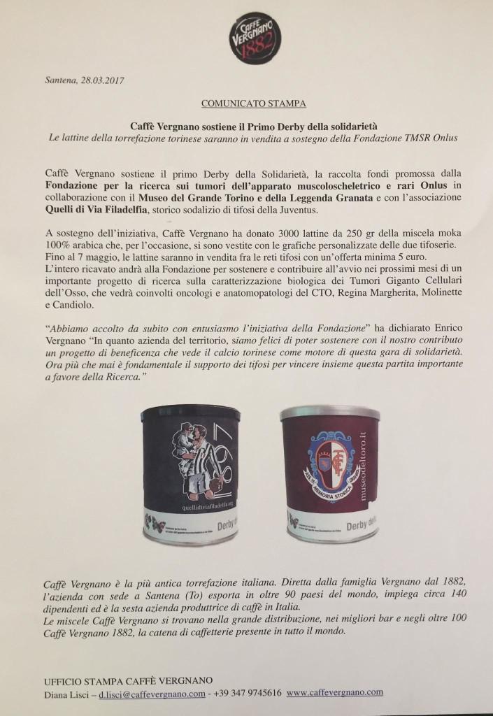 Derby della solidarita con il caffè Vergnano